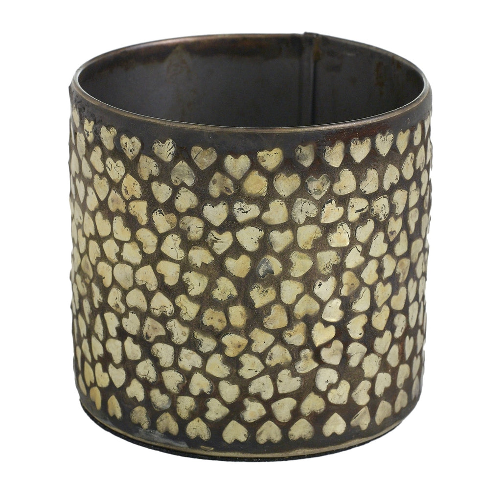 Gold Heart Rustic Iron Vase