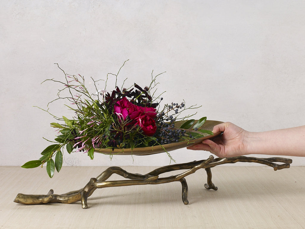 Eric + Eloise Collection Modern Mystic Branch Rustic Antiqued Gold Tray Centerpiece