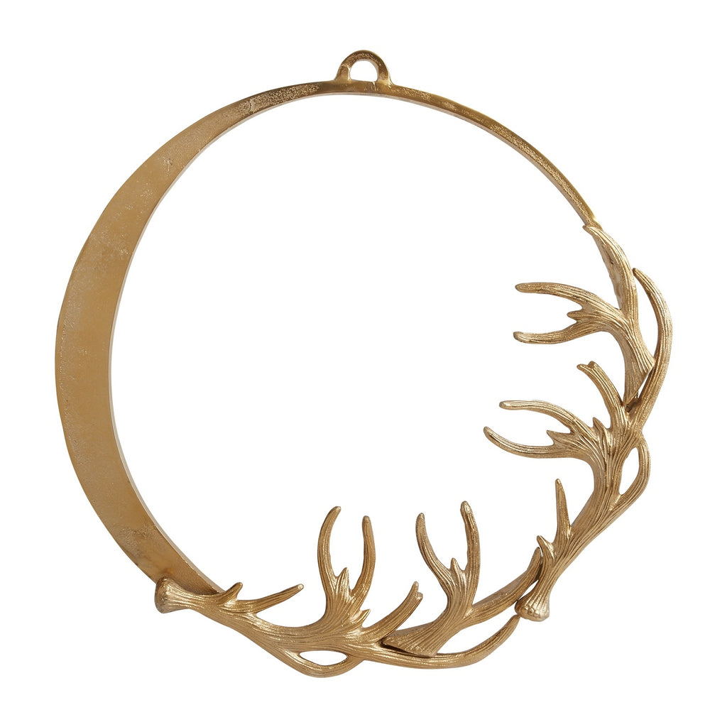 *PRESALE* Eric + Eloise Collection Rustic Gold Deer Antler Sculpture Metal Holiday Wreath