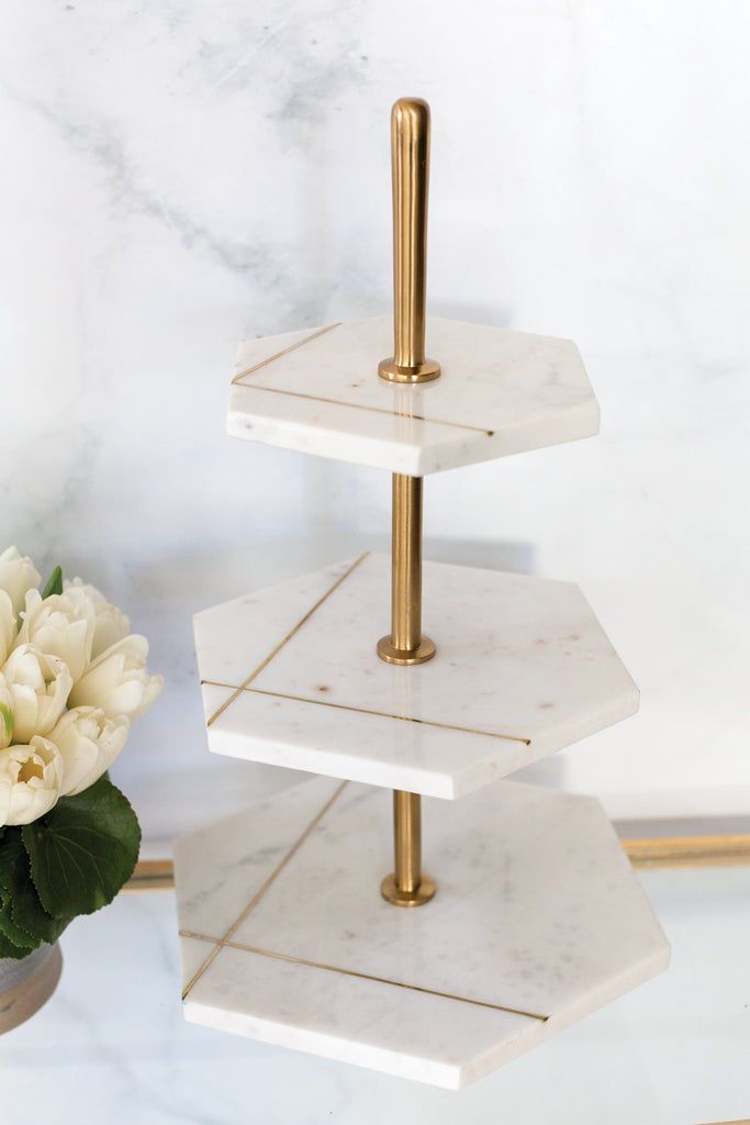 Gold Etched Geometric Hexagon Marble Stand