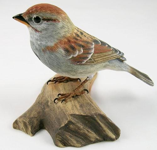 American Tree Sparrow #2 - Hand Carved Wooden Bird