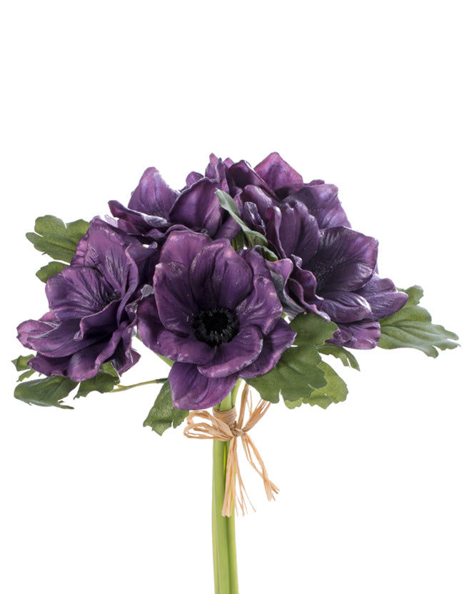 The Perfect Poppy Anemone Real Touch Forever Flower Bundle x5 - Purple