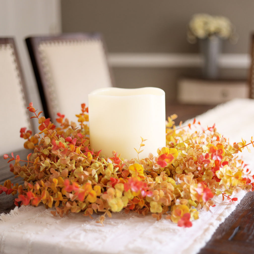 Autumn Shades Fall Eucalyptus Mini & Candle Wreath Centerpiece
