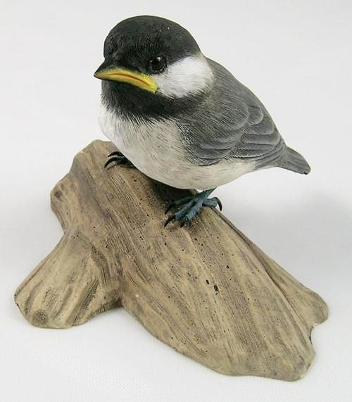 Baby Black-capped Chickadee - Hand Carved Wooden Bird