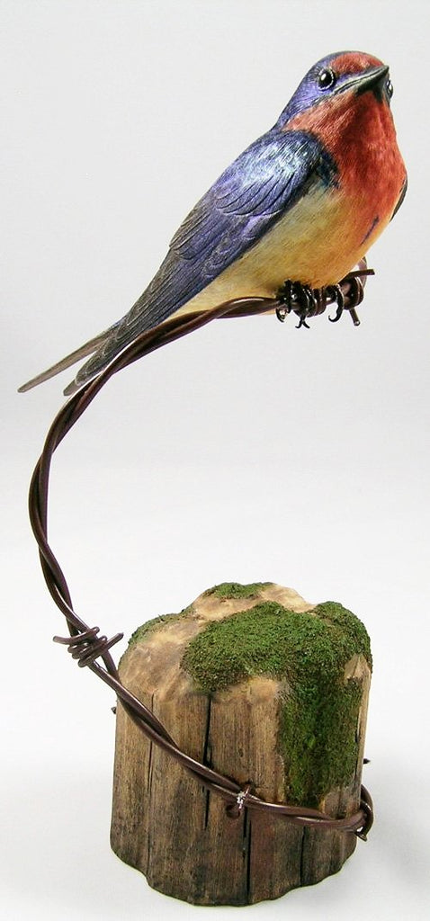 Barn Swallow - Hand Carved Wooden Bird