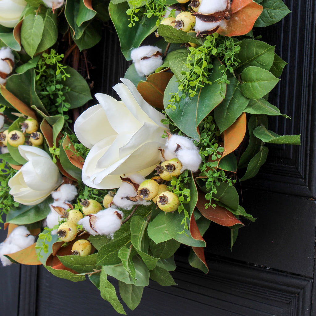Blooming Magnolia, Cotton & Cream Berry Pods All Seasons Estate Wreath