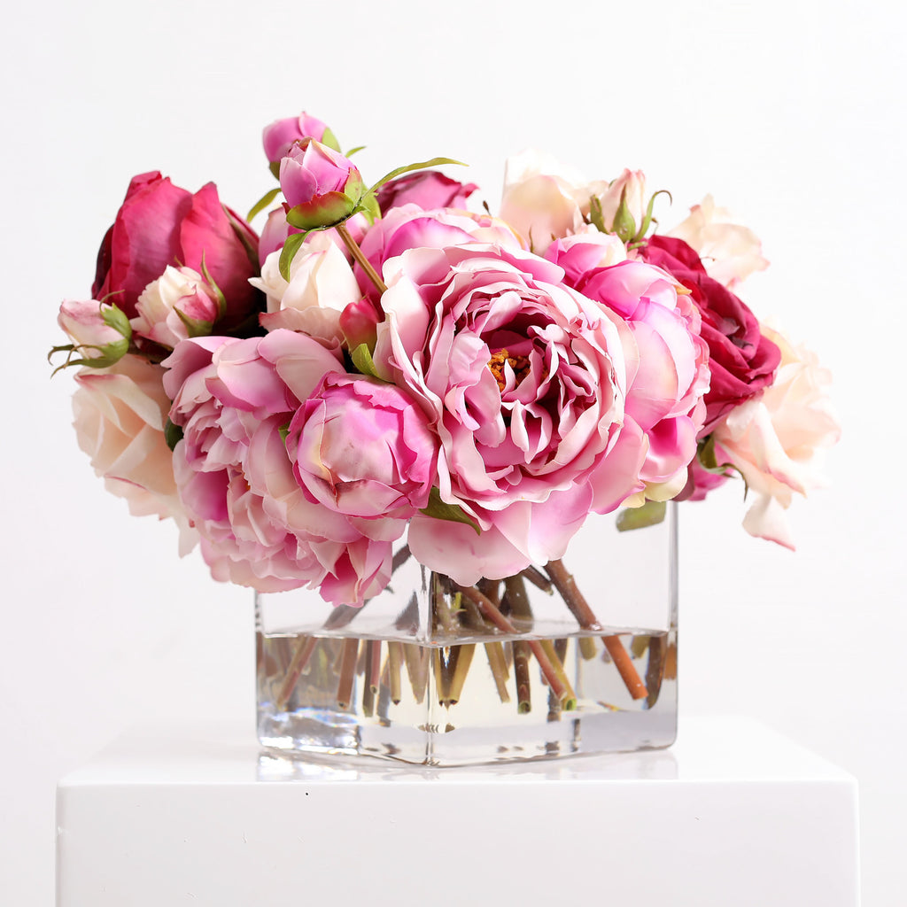 Large Blooming Real Touch Pink Peony & Blush Rose Everyday Floral Arrangement Centerpiece in Square Glass Vase