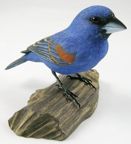 Blue Grosbeak - Hand Carved Wooden Bird