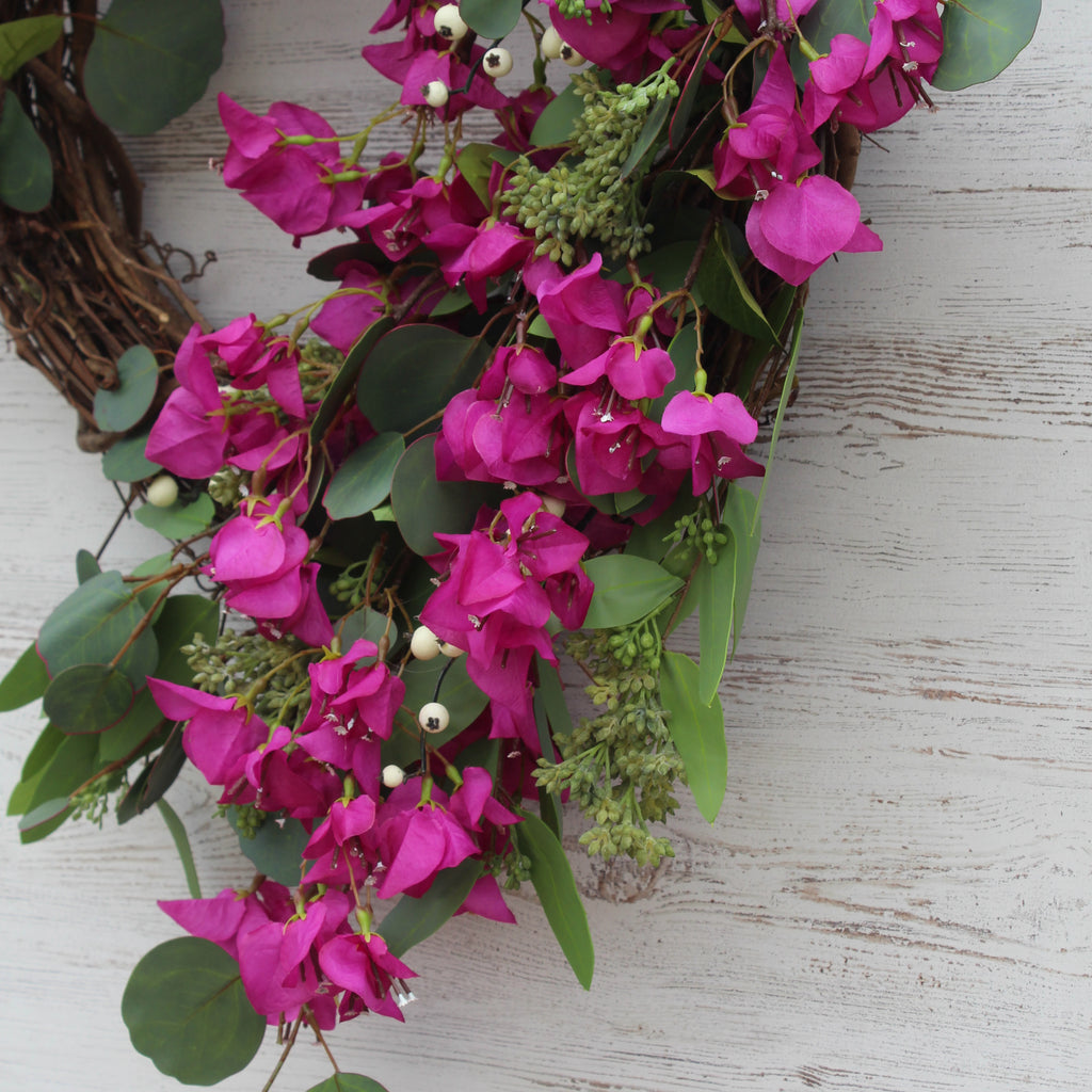 Bright Pink Purple Bougainvillea & Real Touch Seeded Eucalyptus Asymmetrical Spring Summer Wreath