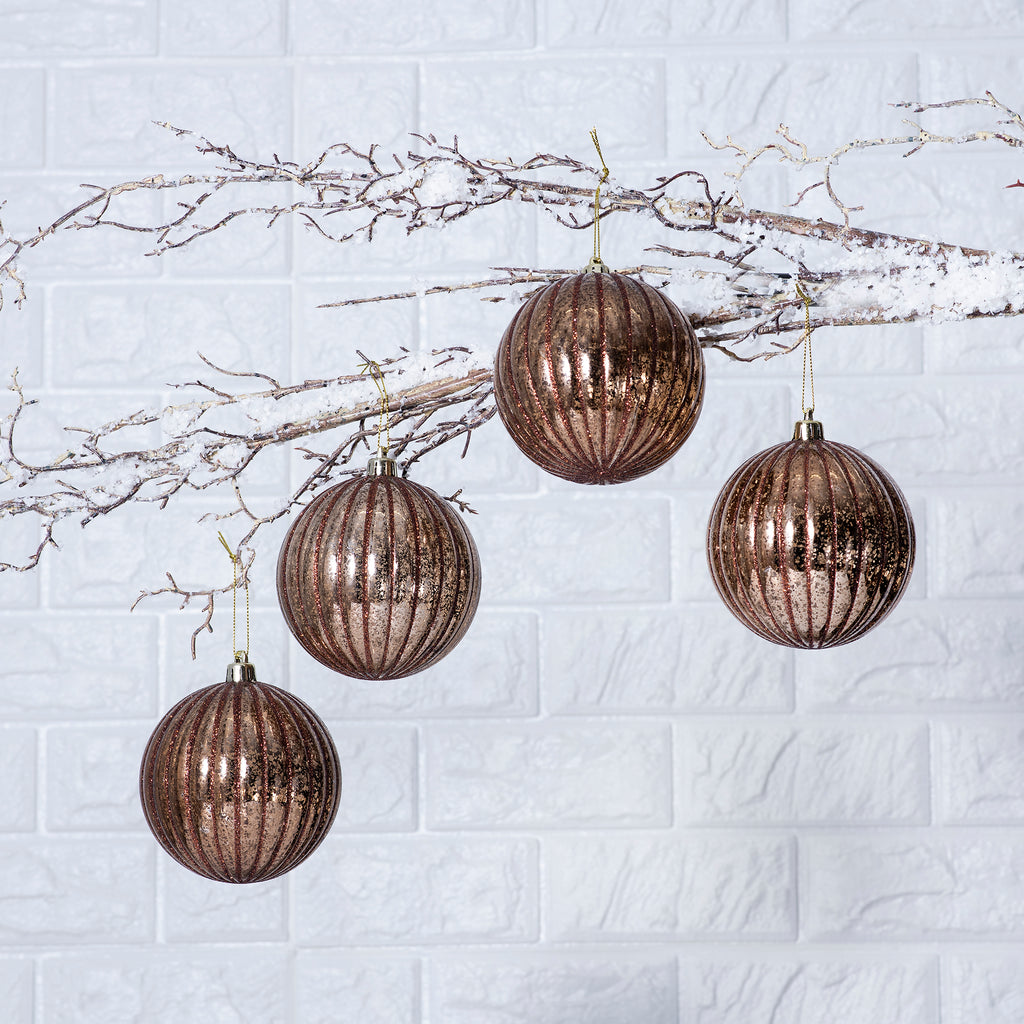 Bronze Glitter Mercury-Look Christmas Ball Ornaments - Set of 4