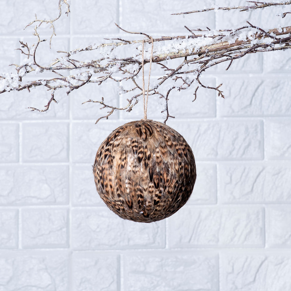 Brown & Black Feather Ball Christmas Ornament with Jute Rope
