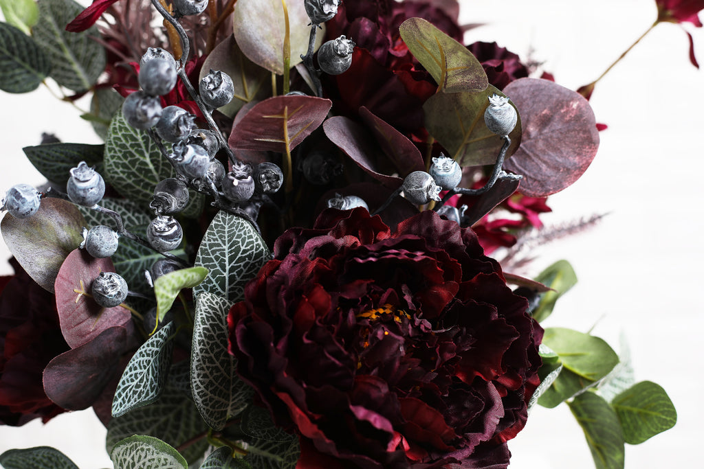 Burgundy Peony, Eucalyptus & Blueberry Fall Floral Arrangement Centerpiece in Silver Pot