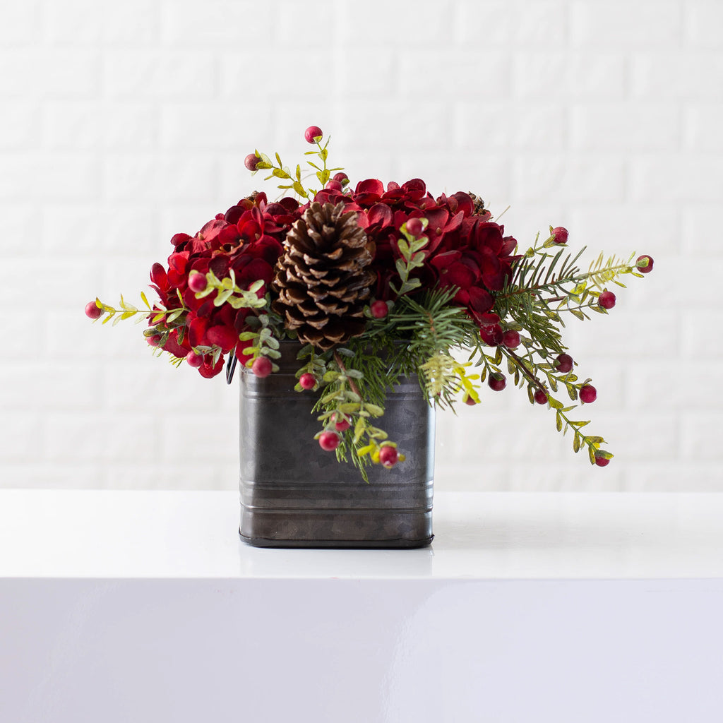 Burgundy Red Hydrangea, Wild Cranberry & Pinecone Fall Christmas Floral Arrangement Centerpiece in Metal Tin - 3 Size Options