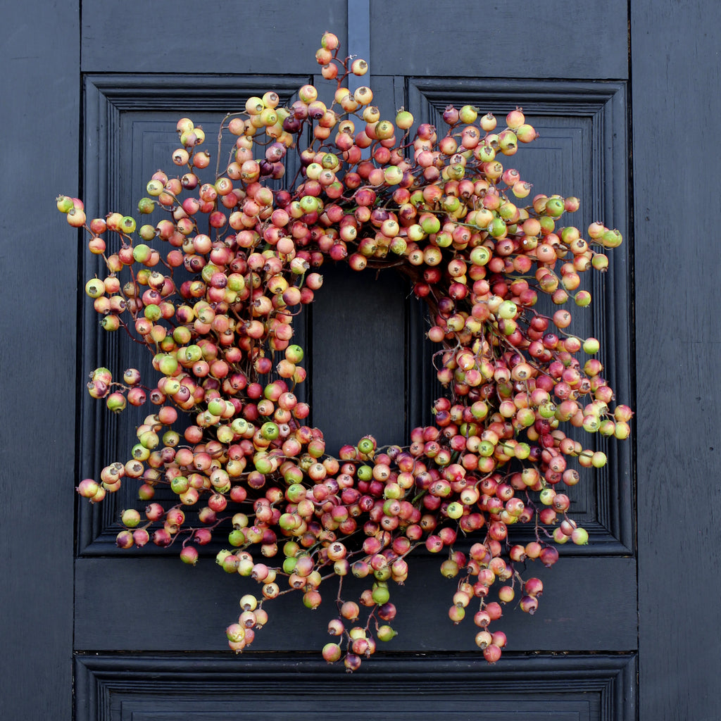 Burgundy and Cream Gooseberry All Seasons Front Door Wreath