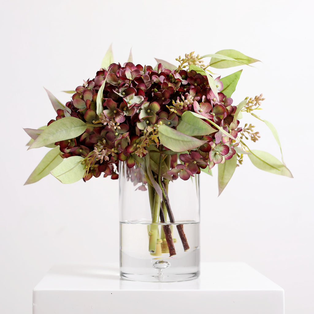 Burgundy and Green Fall Hydrangea & Seeded Eucalyptus Floral Arrangement in Glass Vase