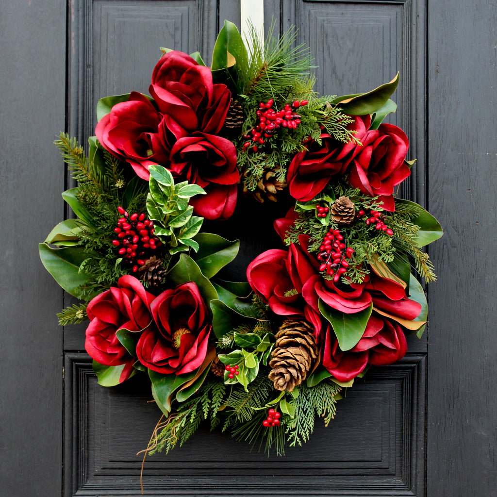 Luxury Real Touch Red Magnolia, Pinecone, Cedar & Berry Front Door Christmas Wreath