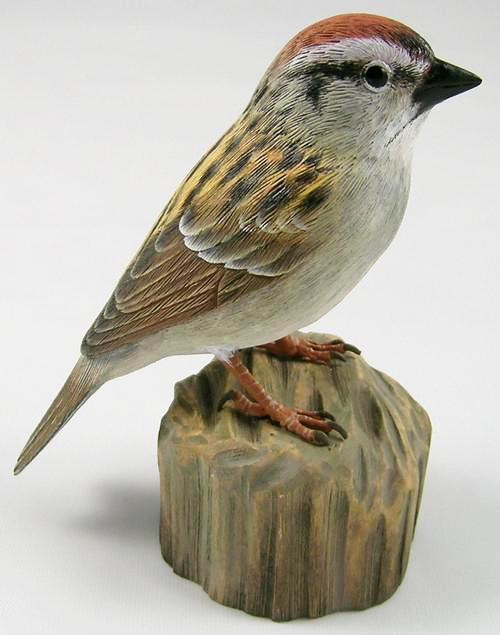 Chipping Sparrow #2 - Hand Carved Wooden Bird