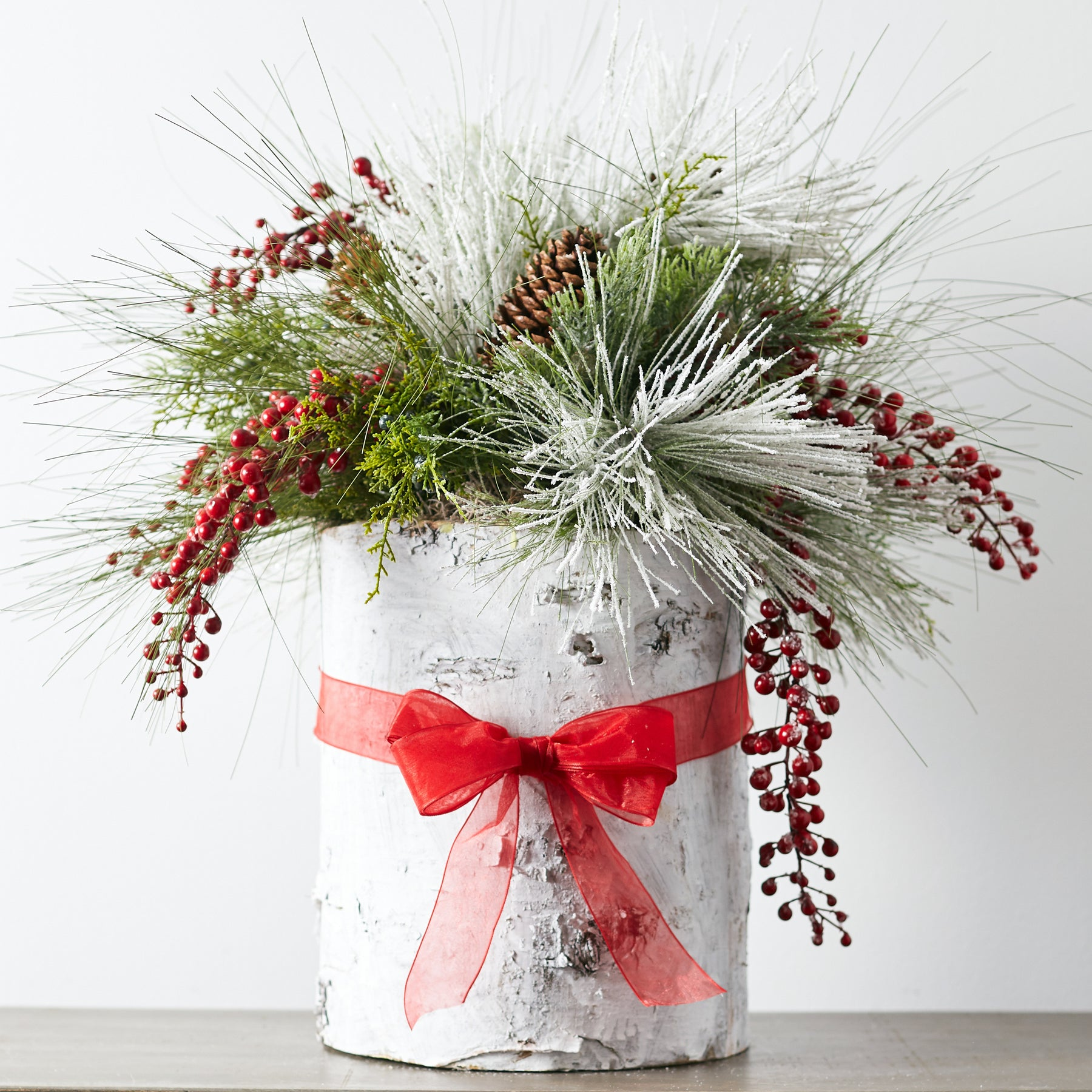 Large Christmas Greenery Red Berry Centerpiece Arrangement In White Darby Creek Trading