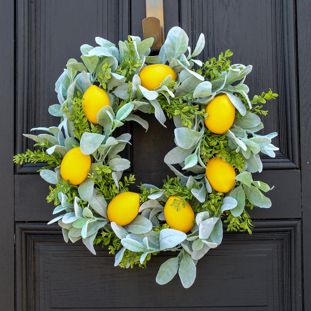 Citrus Lemon, Lamb's Ear, & Boxwood All Season Spring Front Door Wreath