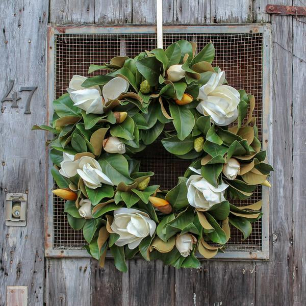 Classic Real Touch White Magnolia Leaves All Seasons Decor Wreath 30""