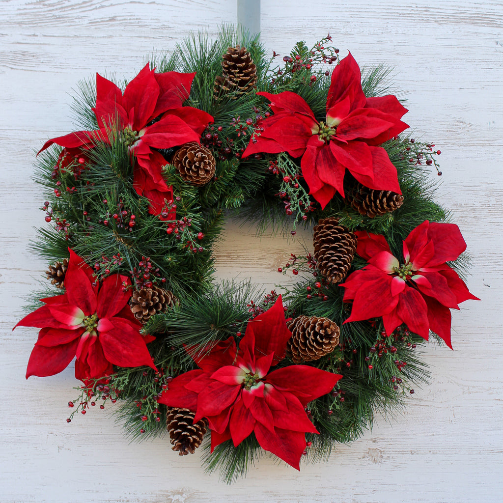 Classic Red Poinsettia, Berry & Pinecone Front Door Christmas Wreath