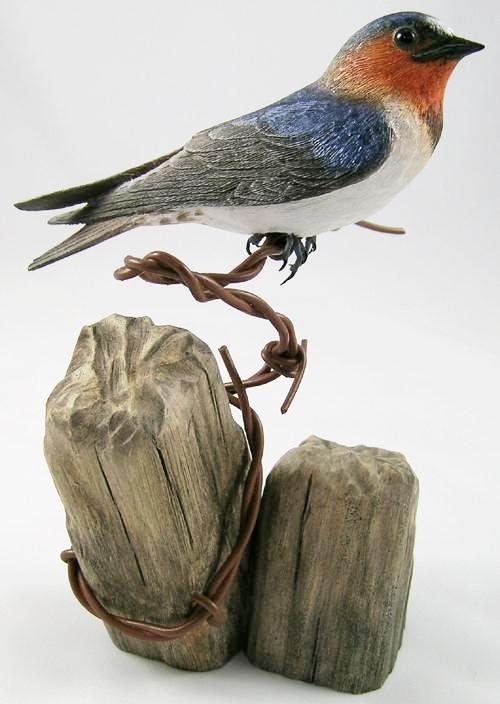 Cliff Swallow - Hand Carved Wooden Bird