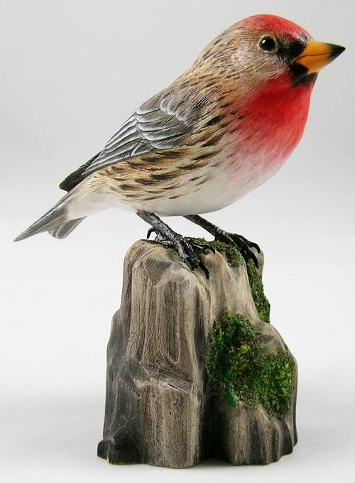 Common Redpoll - Hand Carved Wooden Bird