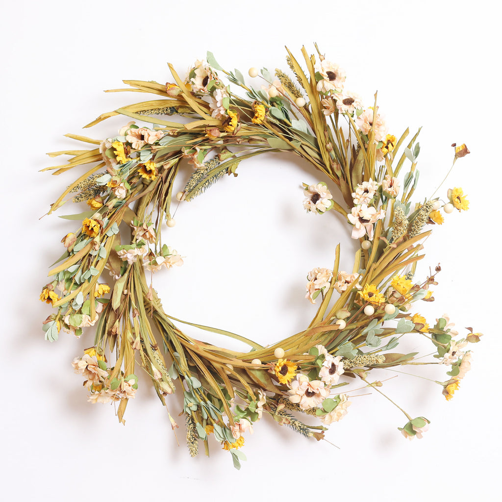 Country Daisy & Berry Dried-Look Everyday Fall Farmhouse Wreath and Garland Set