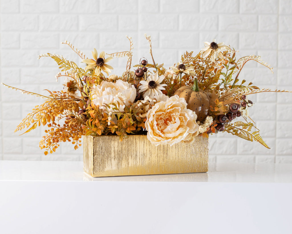 Harvest Delight - Cream Peony, Amber Boxwood & Pumpkin Fall Arrangement Centerpiece in Etched Gold Vase