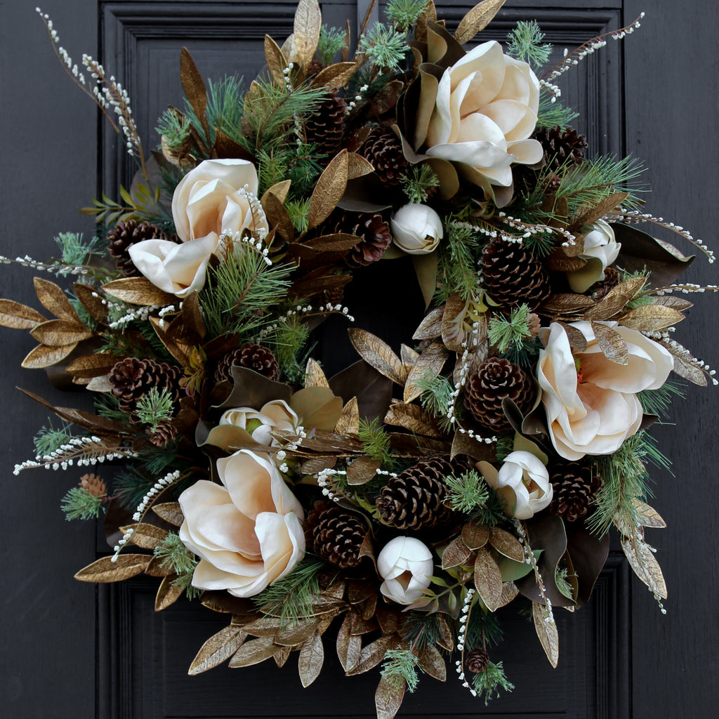 Cream Real Touch Magnolia, Antique Gold Eucalyptus & Mixed Pine Front Door Christmas Estate Wreath 32""