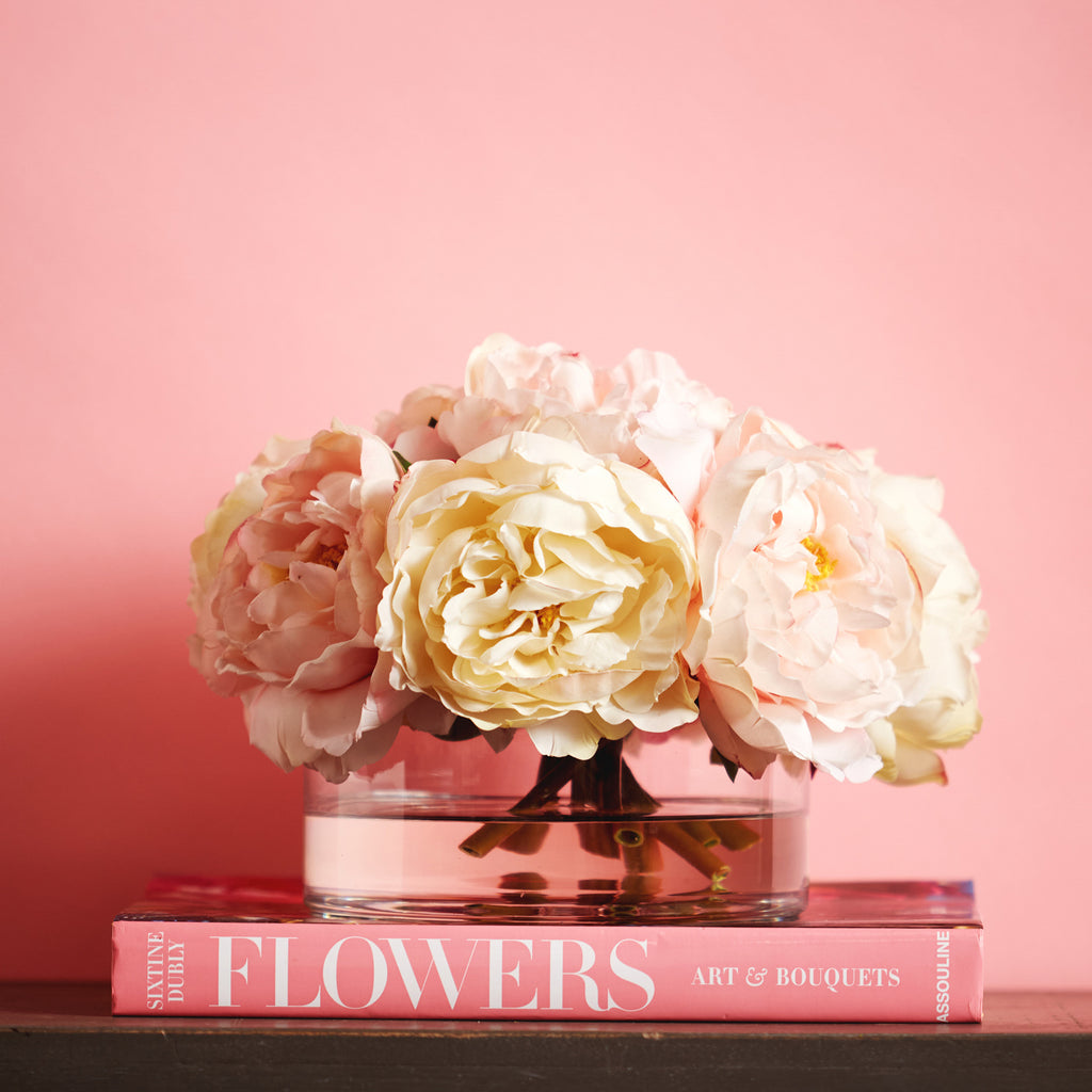 Cream and Blush Real Touch Peony Floral Arrangement in Glass Cylinder