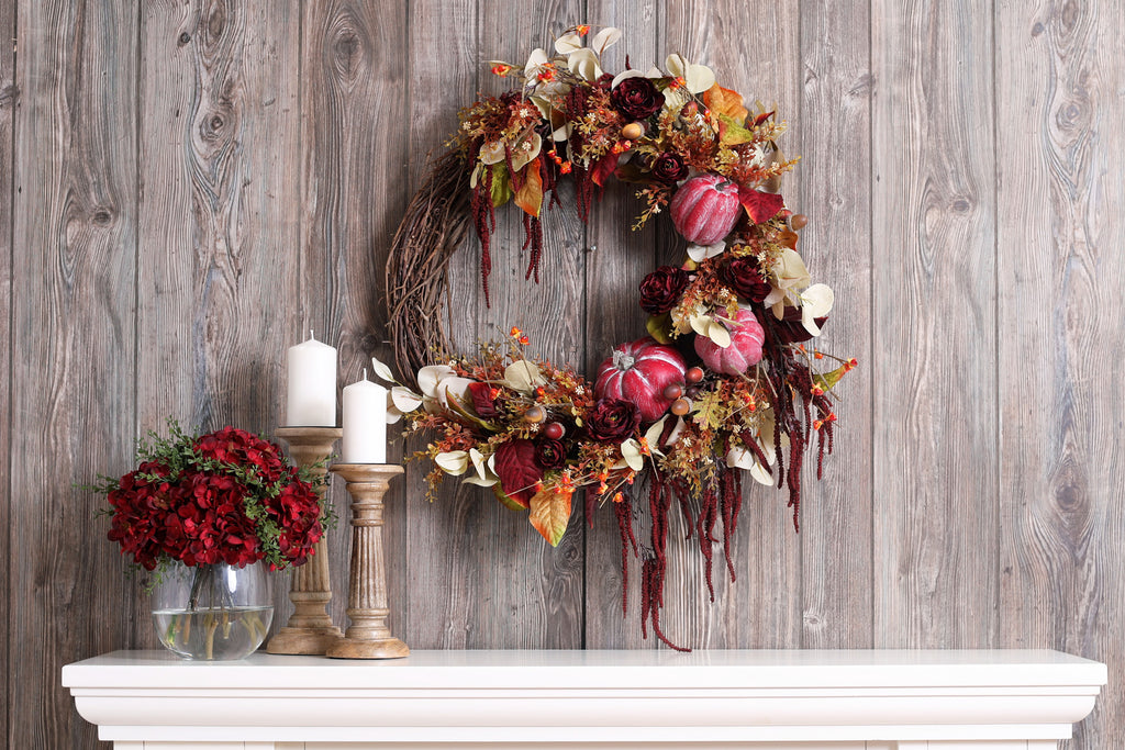 Crimson Red Pumpkin, Velvet Magnolia Leaf & Burgundy Amaranthus Asymmetrical Fall Front Door Wreath
