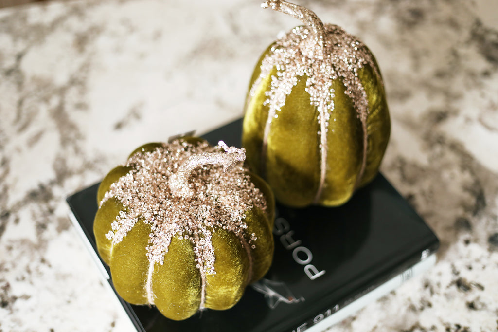 Luxury Velvet & Gold Glitter Sequin Pumpkin Set of 2 - Sage/Gold