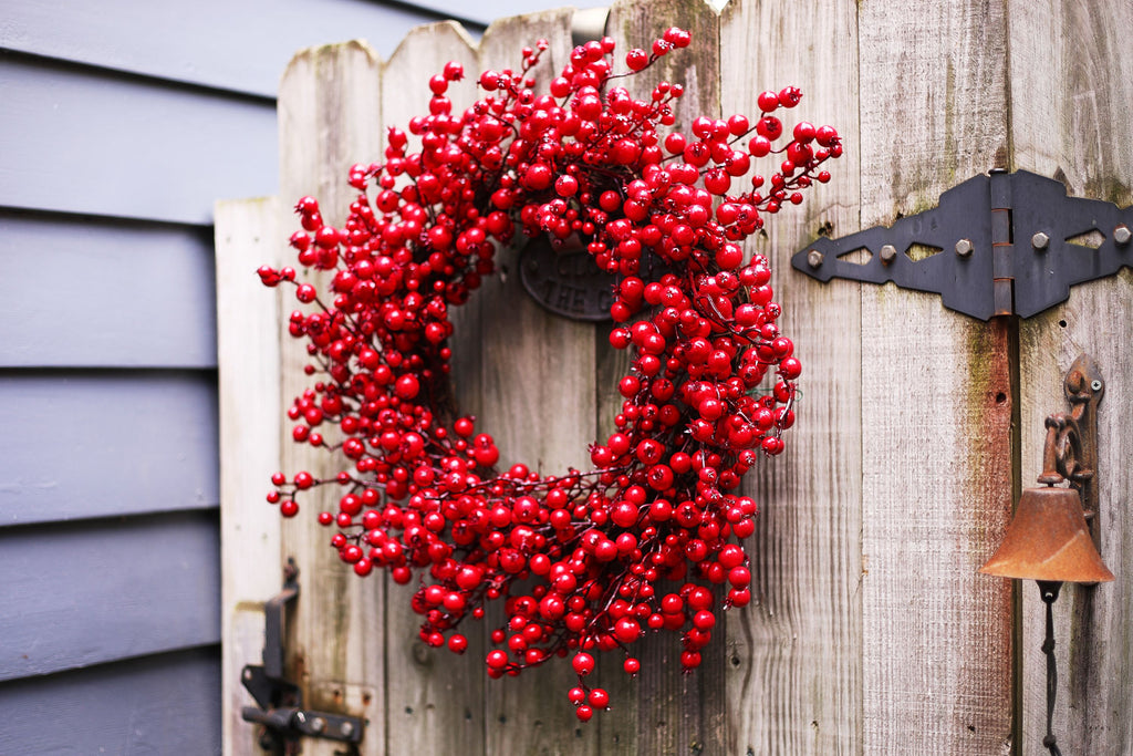 Waterproof Red Berry Front Door Christmas Wreath 24""