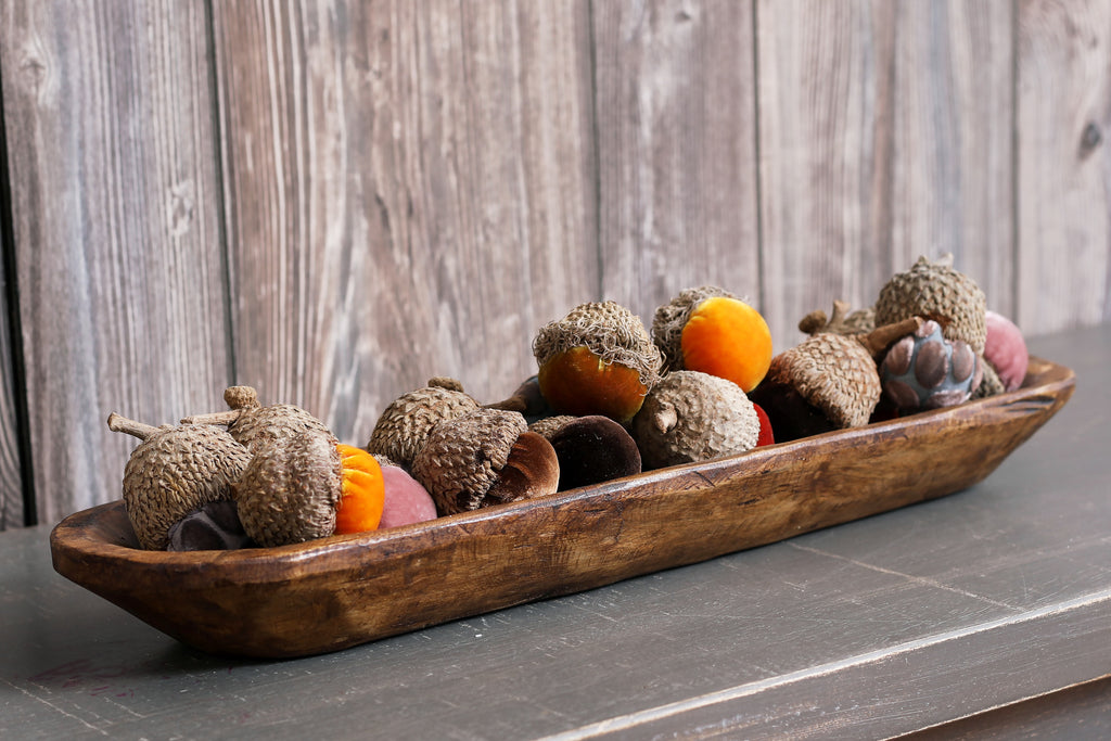 Blushing Harvest- Plush Luxury Velvet Real Oak Tree Cap Acorn Fall Decor- Set of 3