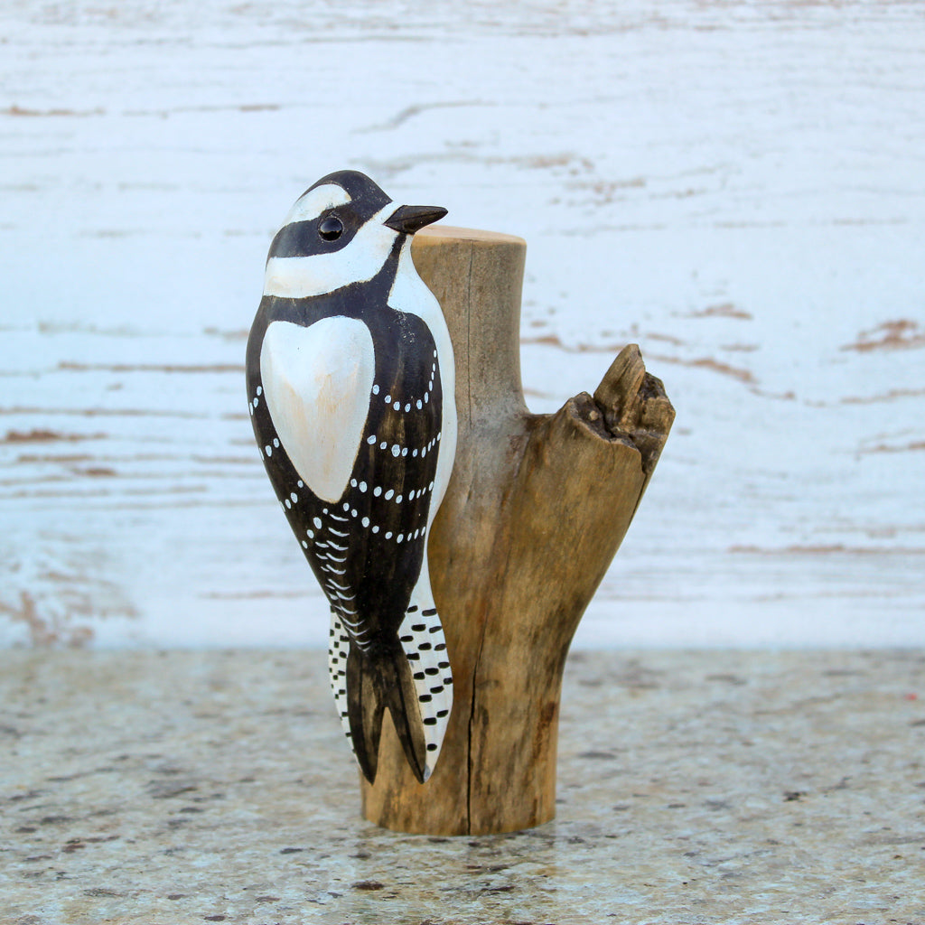 Hand Carved Red Head Male Downy Woodpecker Life Sized Perched on Stand