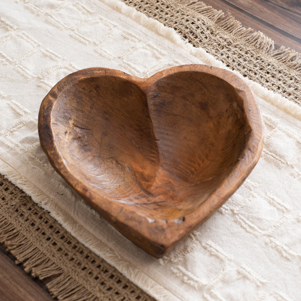 Hand Carved Spanish Oak Wood Heart Shaped Bowl- 2 Size Options