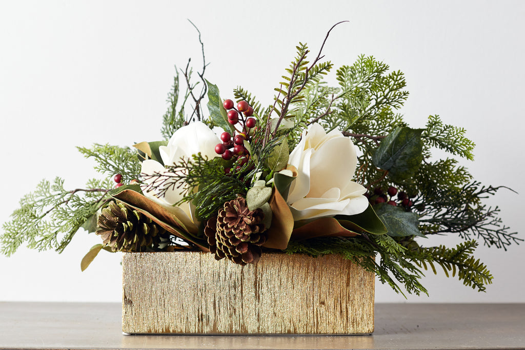 Large White Magnolia & Cypress Christmas Centerpiece Arrangement in Etched Gold Planter Box