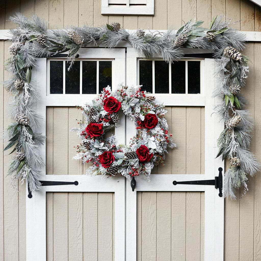 Red Rose, Snowy Lamb's Ear & Red Berry Front Door Christmas Wreath