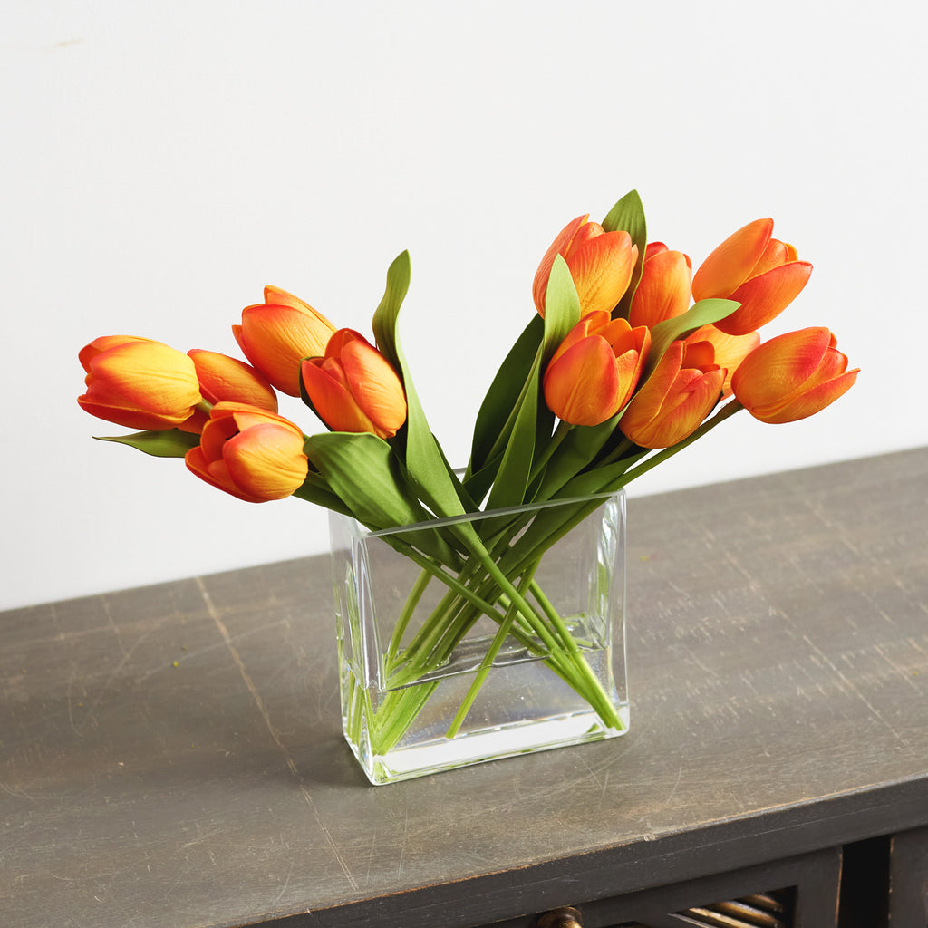 Real Touch Tulip Spring Floral Arrangement in Glass Rectangle Vase - Choose Your Color