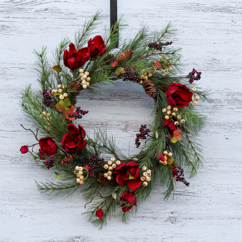 Dark Red Magnolia, German Spruce & Berry Rustic Front Door Christmas Wreath 24""