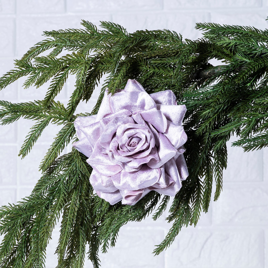 Dusty Pink Rose Flower Clip On Christmas Ornament