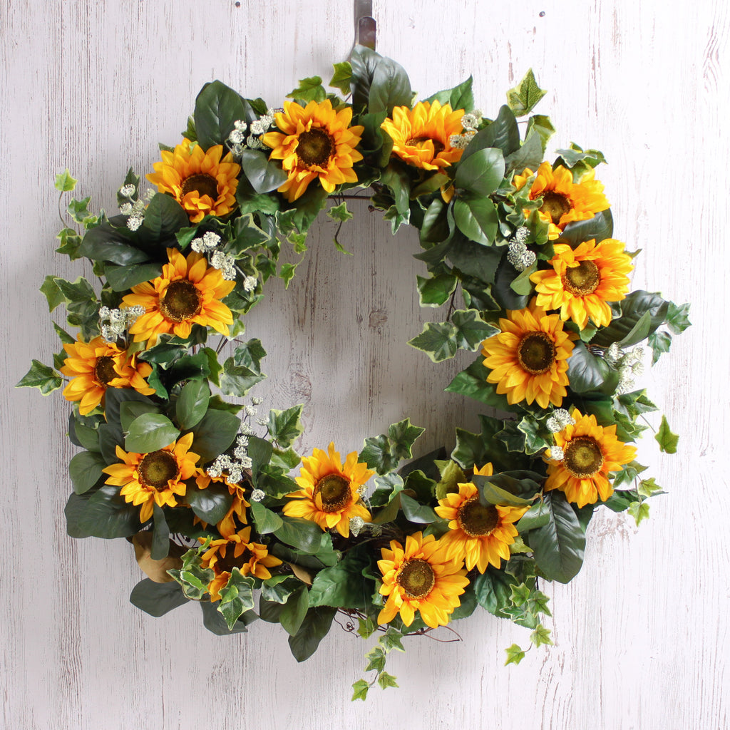 Yellow Sunflower, English Ivy, & Queen Anne's Lace Summer Estate Wreath