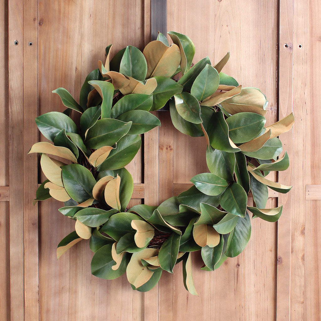 Classic Real Touch Magnolia Leaf All Seasons Front Door Wreath 24""