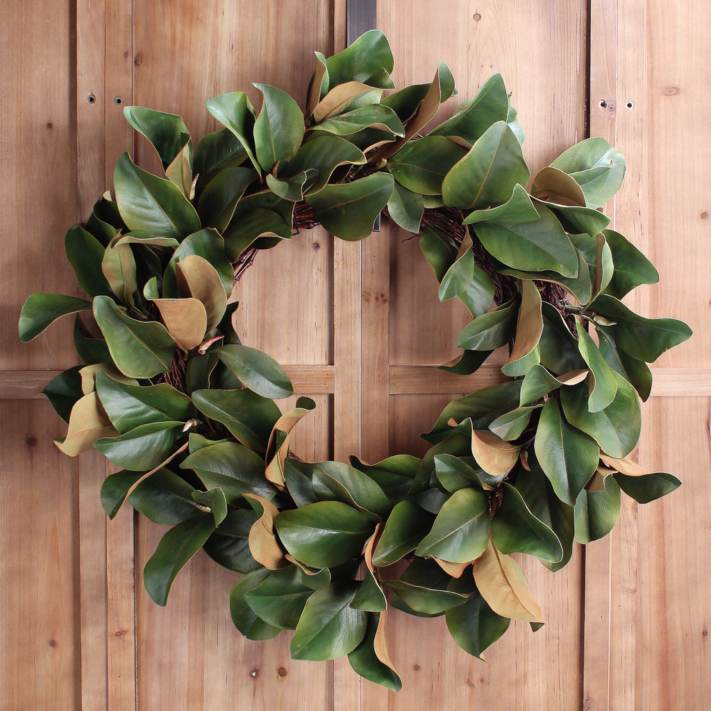 Classic Real Touch Magnolia Leaf Everyday Greenery Spring Wreath 30""