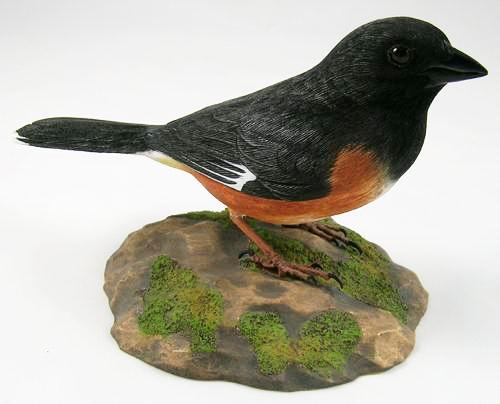 Eastern Towhee - Hand Carved Wooden Bird