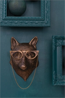 Eric + Eloise Lady Fox with Glasses Bronzed Aluminum Hanging Wall Mount