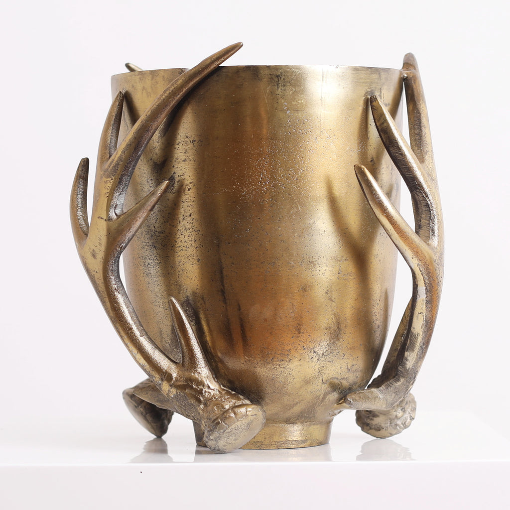 Eric + Eloise Collection Modern Rustic Antiqued Gold Antler Compote