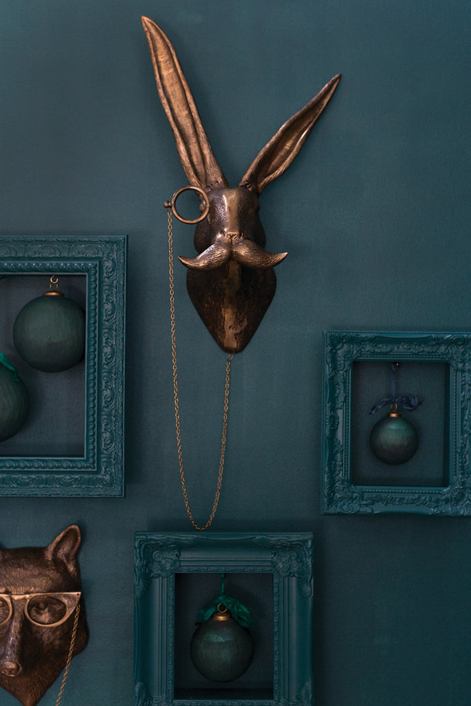 Eric + Eloise Boy Rabbit Hare Monocle Bronzed Aluminum Hanging Wall Mount