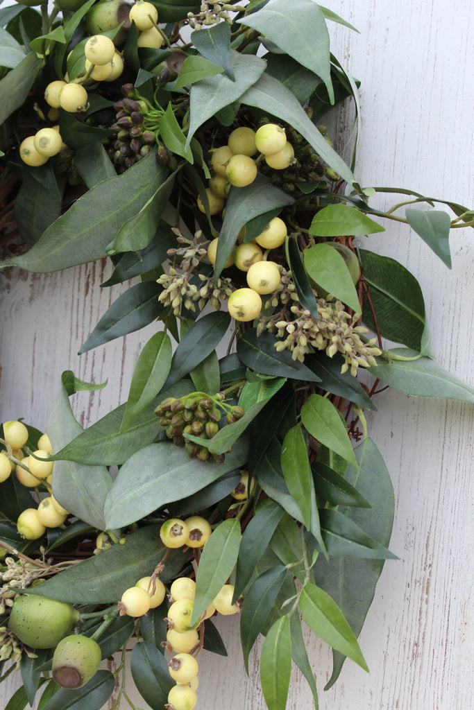 Eucalyptus Pod with Seeded Cluster & Gooseberry Everyday Spring Summer Front Door Wreath